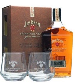 JIM BEAM SIGNATURE CRAFT + 2 BICCHIERI