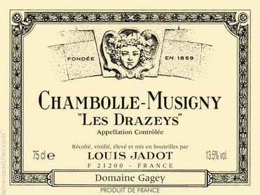 LOUIS JADOT CHAMBOLLE MUSIGNY LES DRAZEYS 3/4
