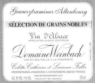 DOMAINE WEINBACH GEWURZTRAMINER SELECTION DE GRAINS NOBLES 1/3