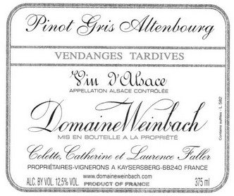 DOMAINE WEINBACH PINOT GRIS ALTENBOURG VENDAGES TARDIVES 1/3